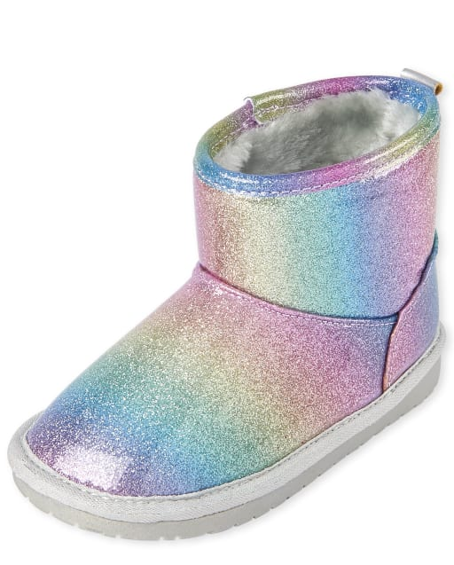 Toddler Girls Rainbow Glitter Booties