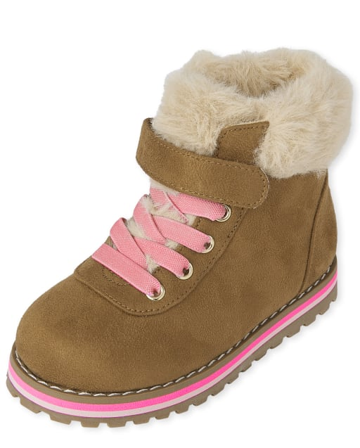 Toddler Girls Faux Fur Lace Up Booties