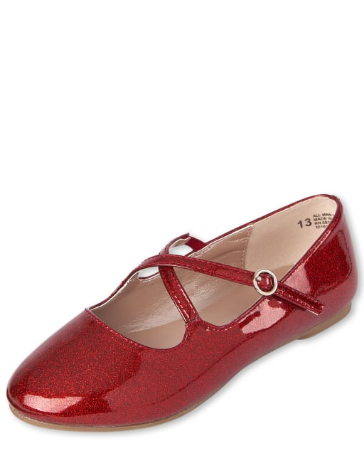 Girls Glitter Cross Strap Ballet Flats