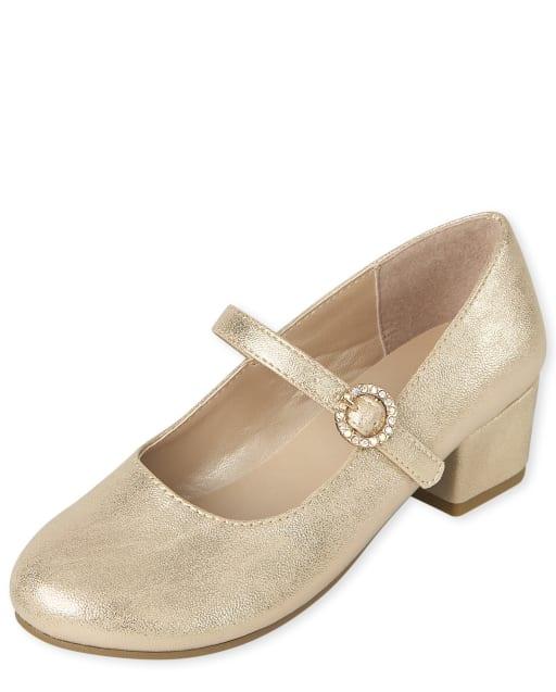 Zapatos de tacón metalizados con pedrería para niñas