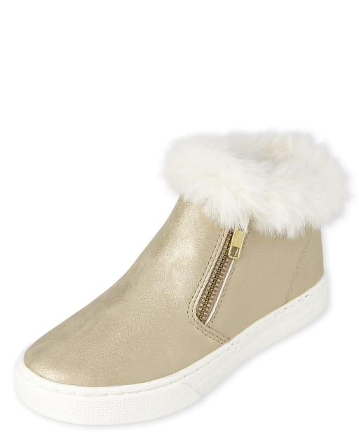 Girls Metallic Sneaker Boots