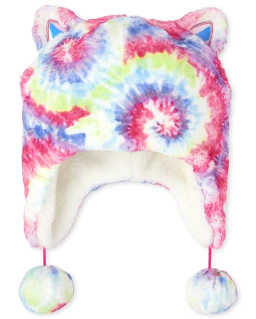 Gorro para niñas de piel sintética con efecto tie dye arcoíris para niñas