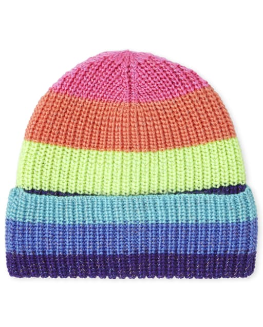 Girls Rainbow Striped Beanie