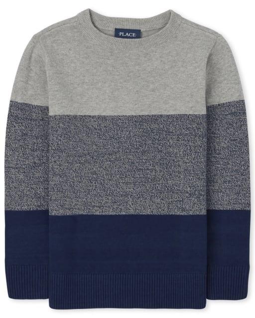 Boys Long Sleeve Colorblock Crew Sweater
