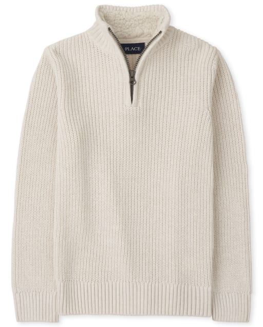 Boys Long Sleeve Half Zip Mock Neck Sweater