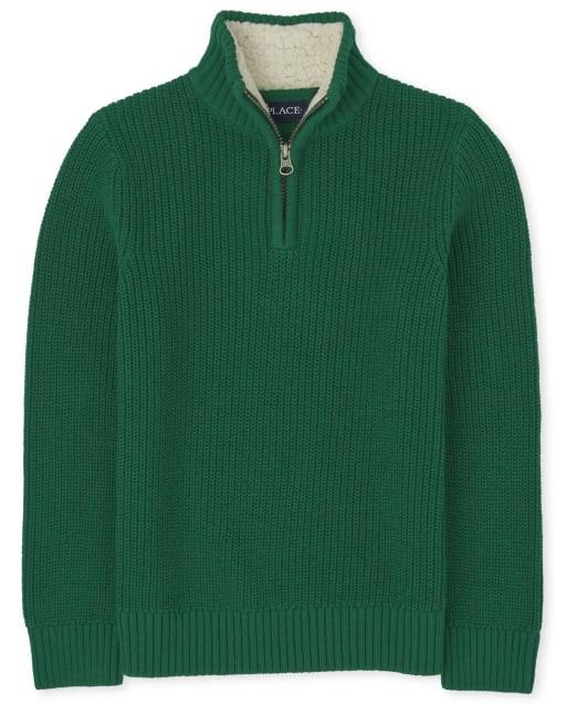 Boys Long Sleeve Sherpa Half Zip Mock Neck Sweater