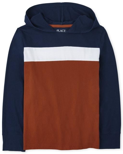 Sudadera con capucha de color block de manga larga para niños