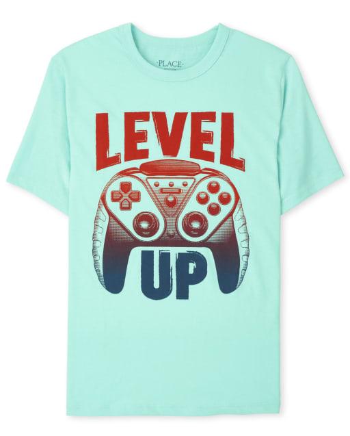 Boys Short Sleeve Level Up Graphic Tee