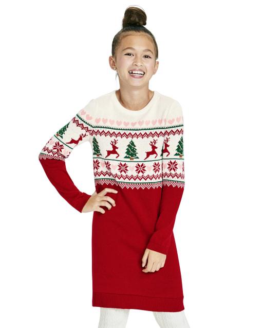 Girls Long Sleeve Christmas Fairisle Knit Sweater Dress
