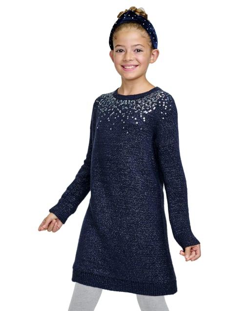 Vestido suéter de punto con lentejuelas de manga larga para niñas