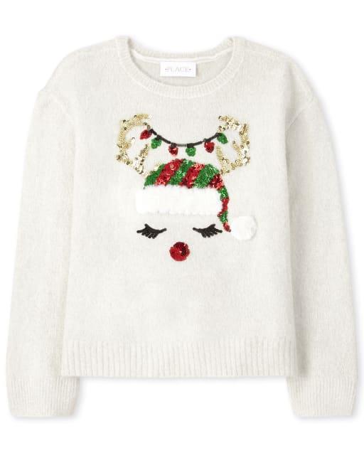 Girls Christmas Long Sleeve Reindeer Sweater