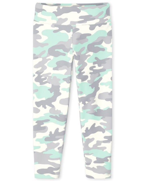 Girls Camo Hi-Rise French Terry Knit Cozy Leggings