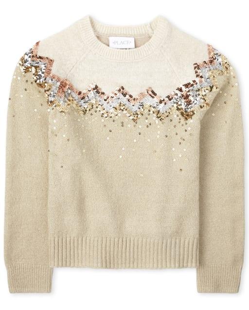 Girls Long Sleeve Sequin Sweater