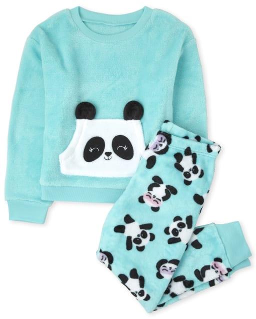 Pijama de niña de manga larga de polar panda