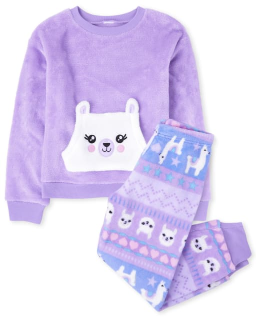 Pijama de niña de manga larga con forro polar de llama