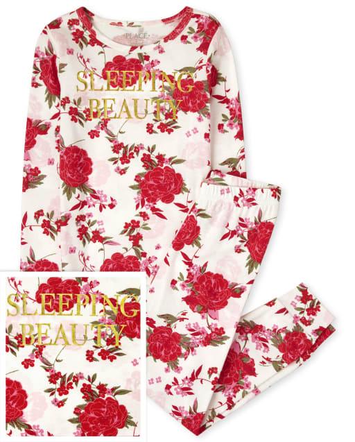 Niñas Mommy And Me Manga larga ' Bella Durmiente ' Pijama de algodón con estampado floral a juego y ajuste ceñido