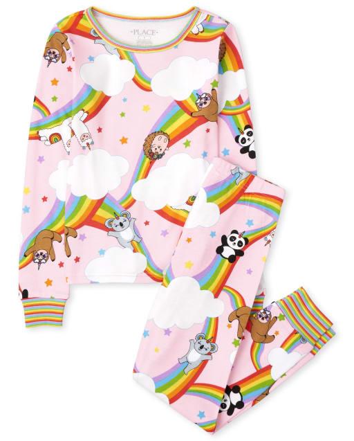 Pijama de niña de algodón con estampado de panda arcoíris