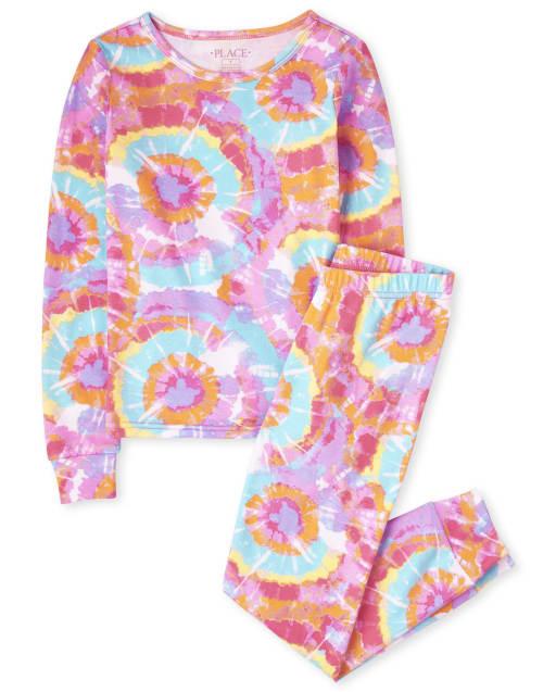 Pijama de niña de manga larga de algodón con efecto tie dye que brilla en la oscuridad y ajuste ceñido