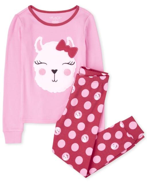 Pijama de algodón con estampado de llama de manga larga para niñas