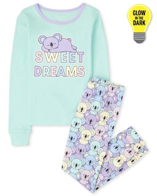 Niña de manga larga que brilla en la oscuridad ' Sweet Dreams ' Pijama de algodón con ajuste ceñido de koala