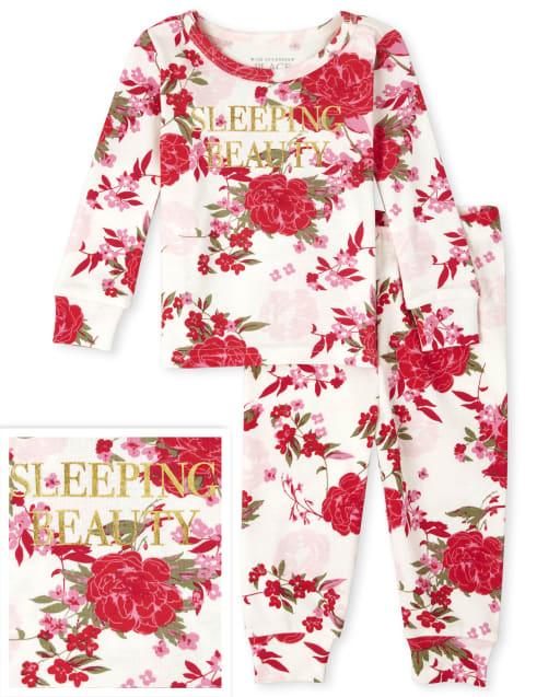 Bebé y niñas pequeñas Mamá y yo Manga larga ' Bella durmiente ' Pijama de algodón ajustado con estampado floral a juego