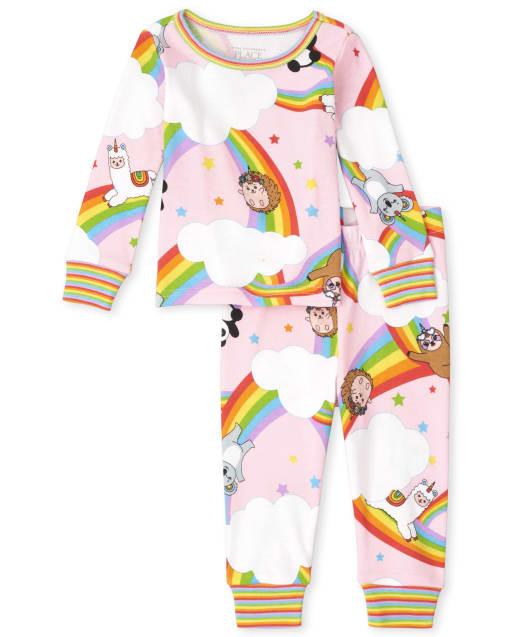 Pijama de algodón con ajuste ceñido de panda arcoíris para bebés y niñas pequeñas