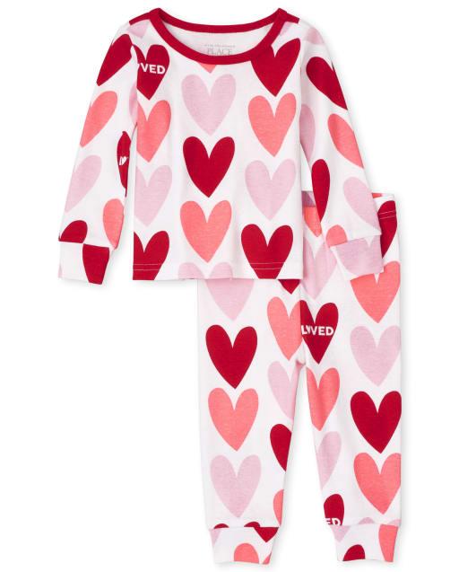 Bebés y niños pequeños niñas de manga larga Valentín ' s Día Impresión del corazón Ajuste perfecto pijamas de algodón