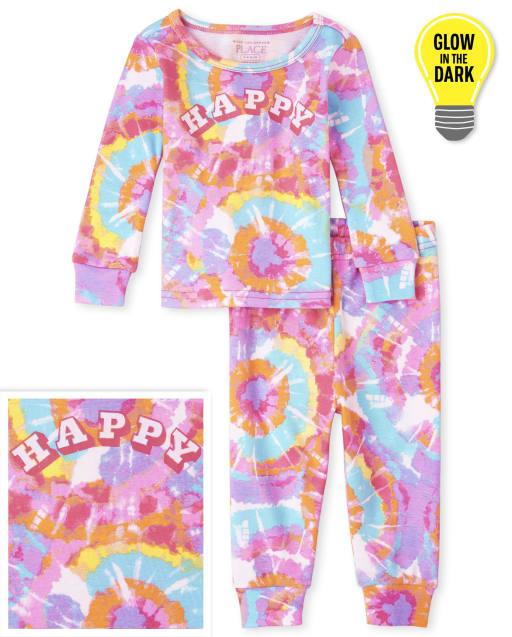 Bebé y niñas pequeñas de manga larga que brillan en la oscuridad ' Happy ' Pijama de algodón de ajuste ceñido con efecto tie dye