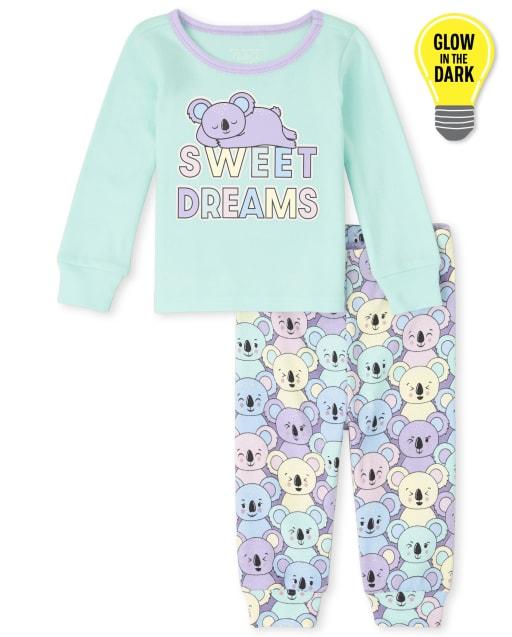 Bebé y niñas pequeñas de manga larga que brillan en la oscuridad ' Sweet Dreams ' Pijama de algodón con ajuste ceñido de koala