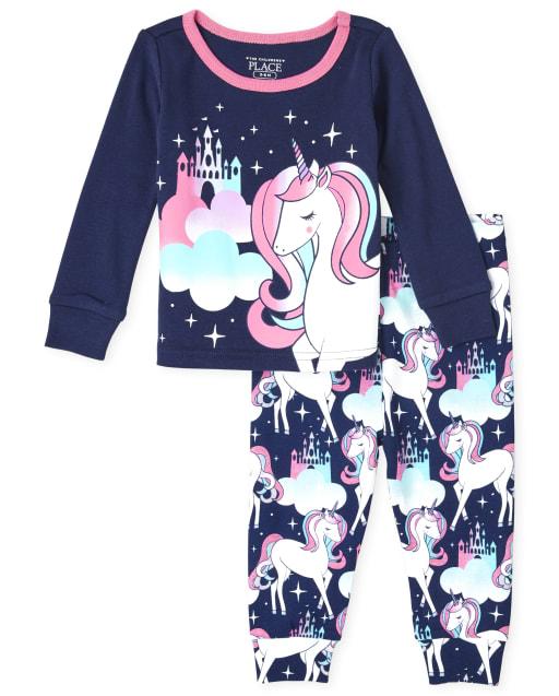 Pijama de algodón con ajuste ceñido de unicornio de manga larga para bebés y niñas pequeñas
