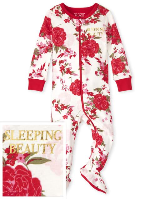 Bebé y niñas pequeñas Mamá y yo de manga larga ' Bella durmiente ' Pijama de una pieza de algodón con ajuste ceñido floral