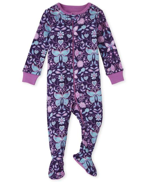 Pijama de una pieza de algodón de ajuste ceñido con estampado de mariposas de manga larga para bebés y niñas pequeñas