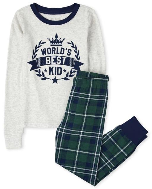 Boys Long Sleeve 'World's Best Kid' Plaid Snug Fit Cotton Pajamas