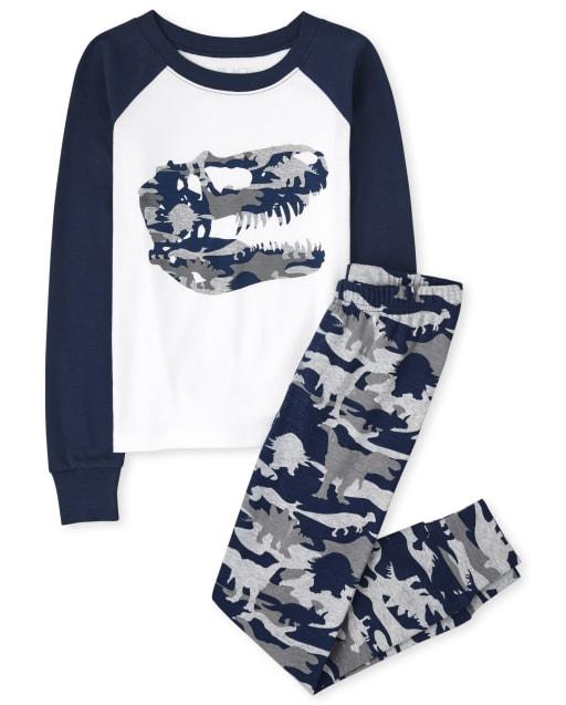 Pijama de algodón con estampado de dinosaurio de camuflaje de manga larga para niños