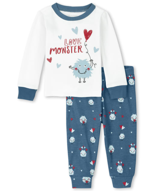 Unisex Baby And Toddler Long Sleeve 'Love Monster' Snug Fit Cotton Pajamas
