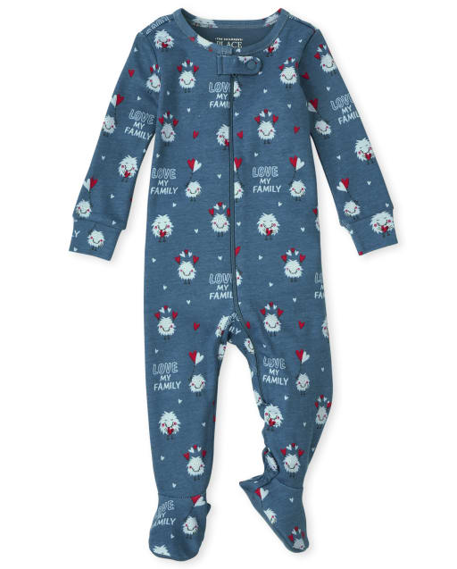 Unisex Baby And Toddler Long Sleeve Love Monster Print Snug Fit Cotton One Piece Pajamas