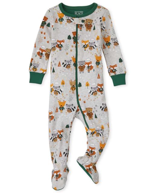 Baby And Toddler Boys Long Sleeve Bears Print Snug Fit Cotton One Piece Pajamas