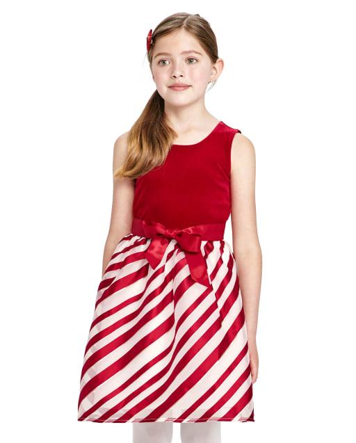 Girls Christmas Sleeveless Velour Striped Knit To Woven Dress