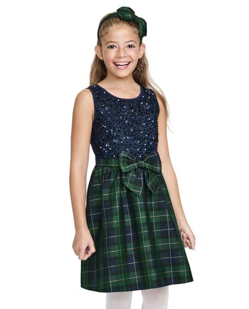 Girls Christmas Sleeveless Sequin Plaid Knit To Woven Dress