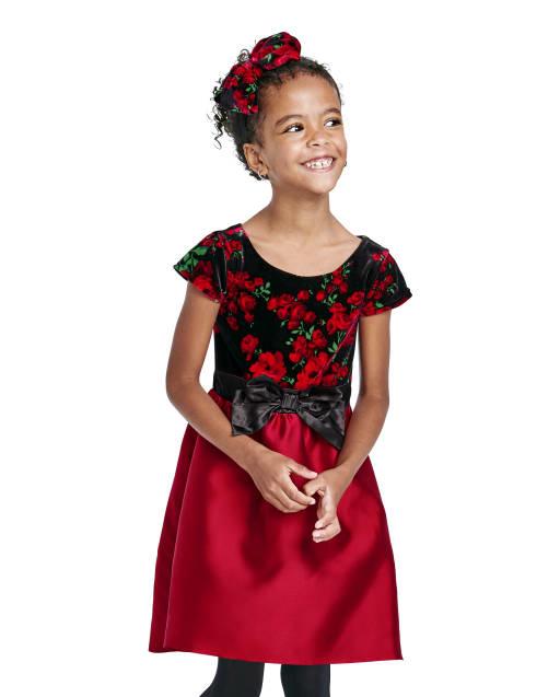 Vestido a juego tejido a juego con estampado floral de terciopelo y manga corta de Navidad para niñas mamá y yo