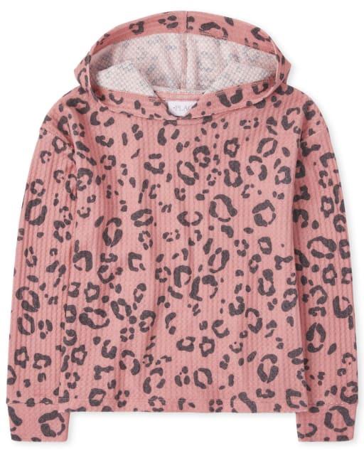 Girls Active Long Sleeve Leopard Thermal Hoodie