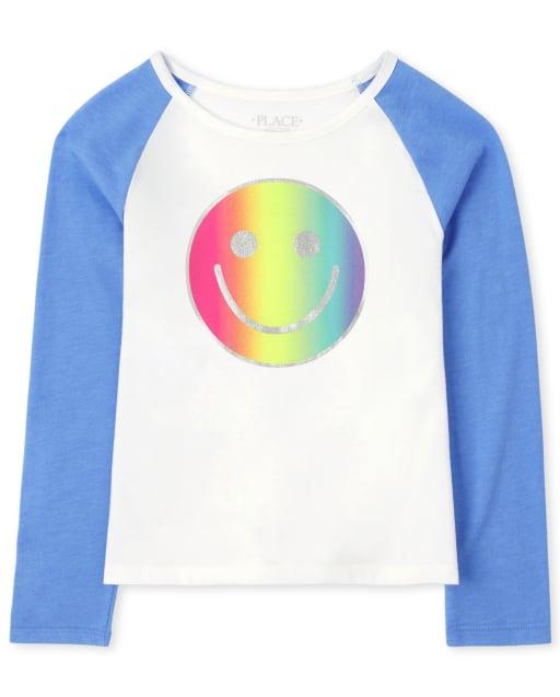 Girls Active Long Sleeve Rainbow Graphic Raglan Top