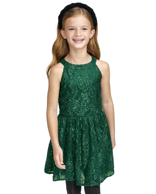 Girls Sleeveless Lace Woven High Neck Dress
