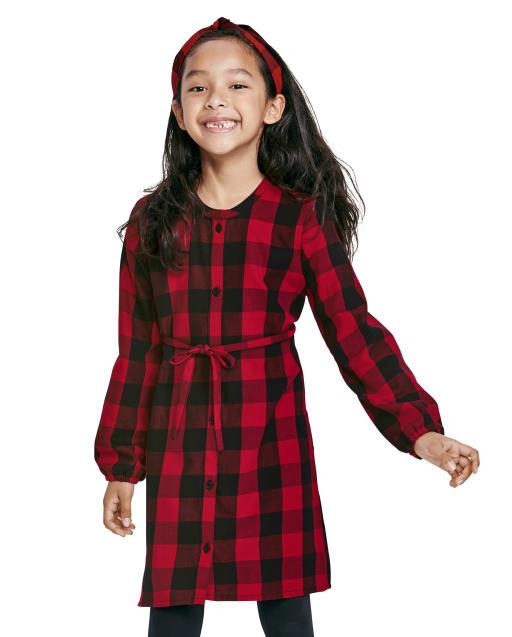 Vestido de camisa de sarga a cuadros de búfalo de manga larga a juego para niñas