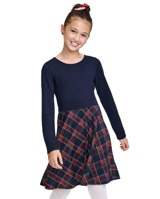 Girls Long Sleeve Plaid Bow Back Knit Skater Dress