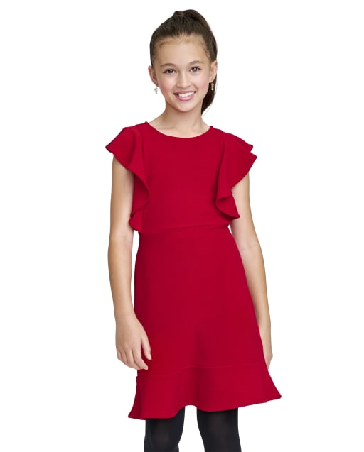 Girls Short Sleeve Knit Stretch Jacquard Ruffle Dress