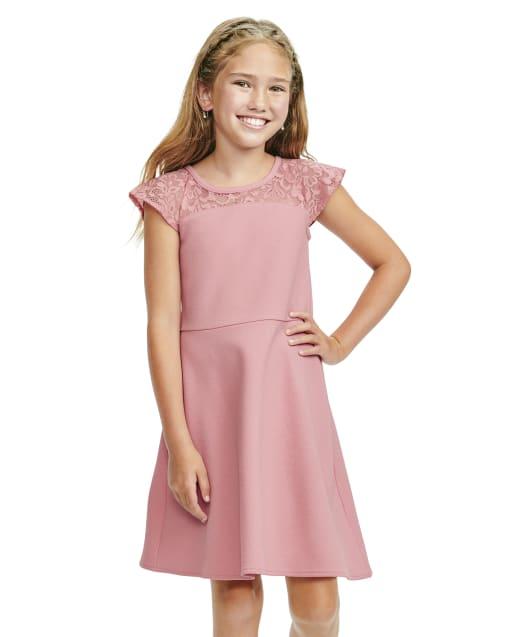 Girls Short Sleeve Lace Yoke Knit Stretch Jacquard Dress