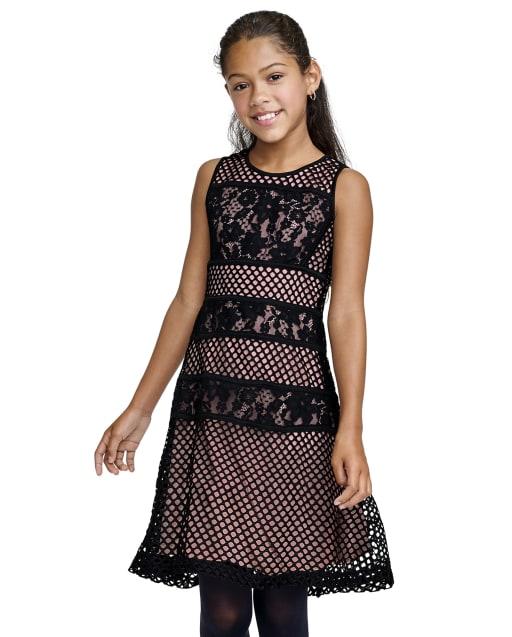 Vestido recto tejido de encaje sin mangas para niñas
