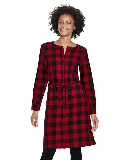 Womens Christmas Matching Family Long Sleeve Buffalo Plaid Twill Shirt Dress