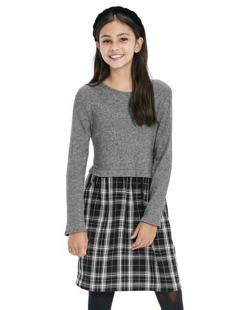 Girls Long Sleeve Plaid Knit To Woven Dress